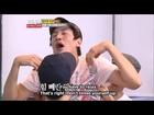 Funny Lee Kwang Soo Kim Jong Kook Stuck While Passing Through Tennis Racket