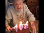102 Year Old Granny Blows Out Her Teeth - while celebrating her birthday!