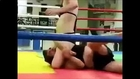 Male vs female wrestling (figure 4 headlock, side headlock and armlock and headscissors)