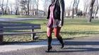 Fashionable brown pants and high heel boots